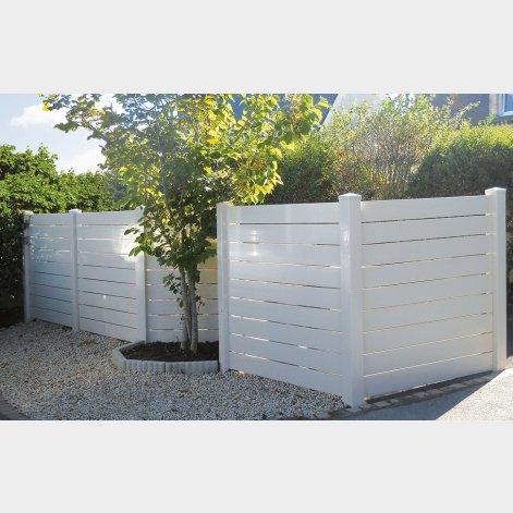 clôture pvc à lames horizontales ajourées