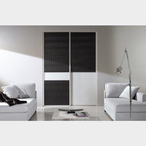 panneaux d cor vitr contrast blanc et d cor cuir batiman experts en menuiseries et cuisines. Black Bedroom Furniture Sets. Home Design Ideas