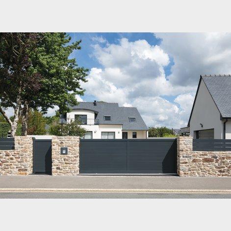 portail aluminium coulissant contemporain valongo batiman