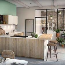 Cuisine contemporaine Eclat/Supreme décor blanc verni et chêne clair structuré