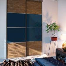 facade de placard noyer brun et bleu nuit BATIMAN