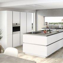 cuisine contemporaine décor blanc glacier mat