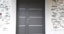Porte d'entrée Aluminium Cintrée gris anthracite
