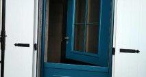 porte d'entrée battante bleue Multibois La Roche Blanche Brioude Auvergne